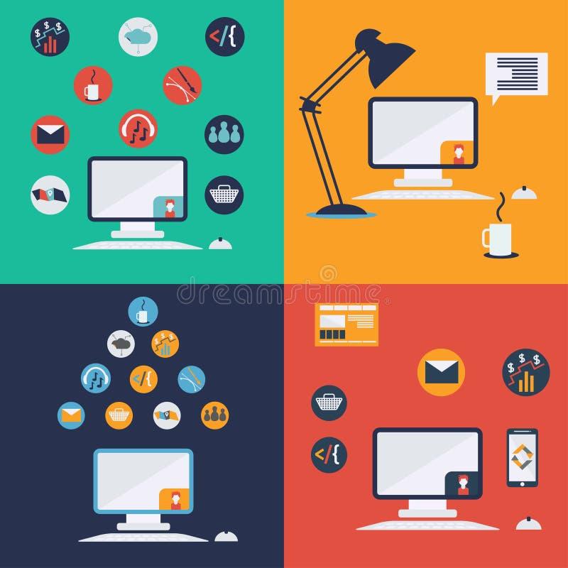 ícones da informática no projeto liso ilustração do vetor
