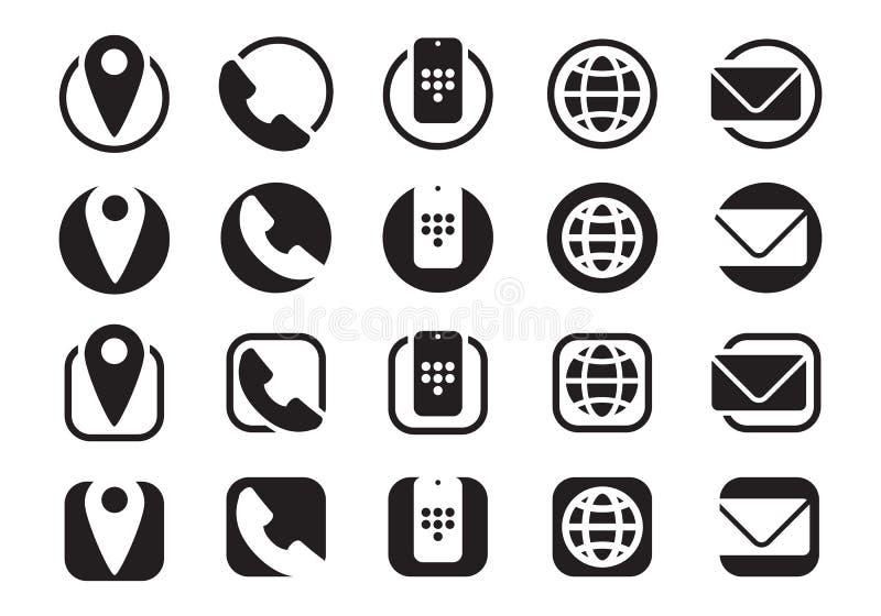 Ícones da informações de contato, e-mail móvel do Web site do telefone da informação, vetor ilustração do vetor