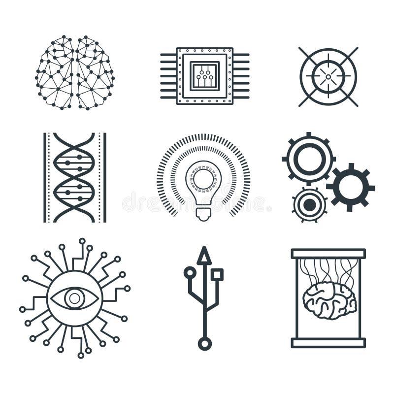 Ícones da inteligência artificial ilustração do vetor