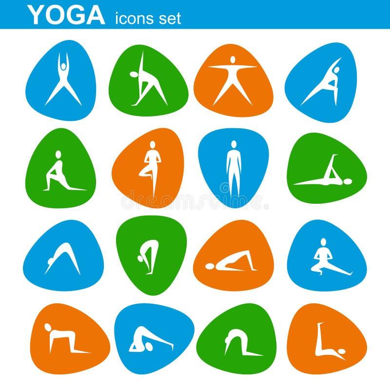 Ícones da ioga ajustados ilustração stock