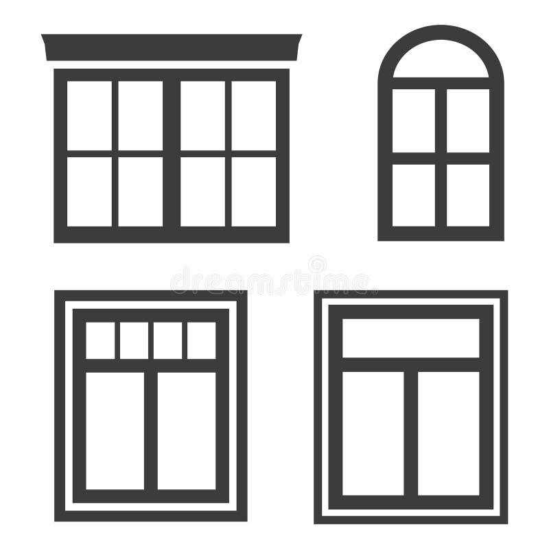 Ícones da janela no fundo branco ilustração royalty free