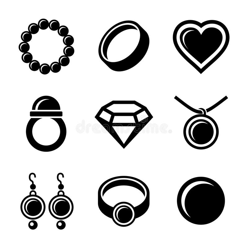 Ícones da joia ajustados ilustração royalty free