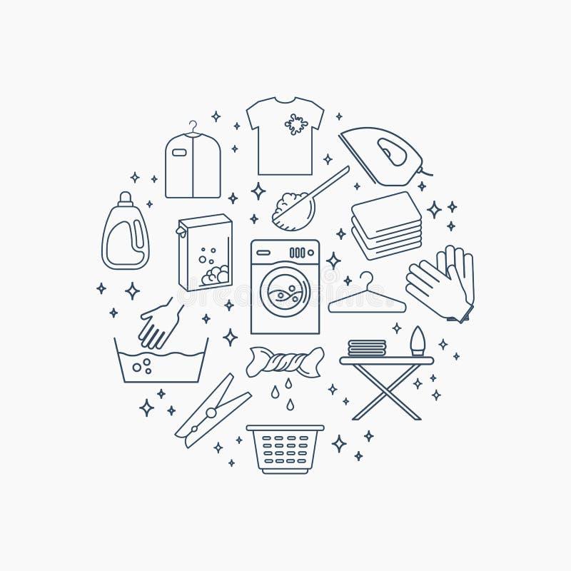Ícones da lavagem automática do vetor ilustração do vetor