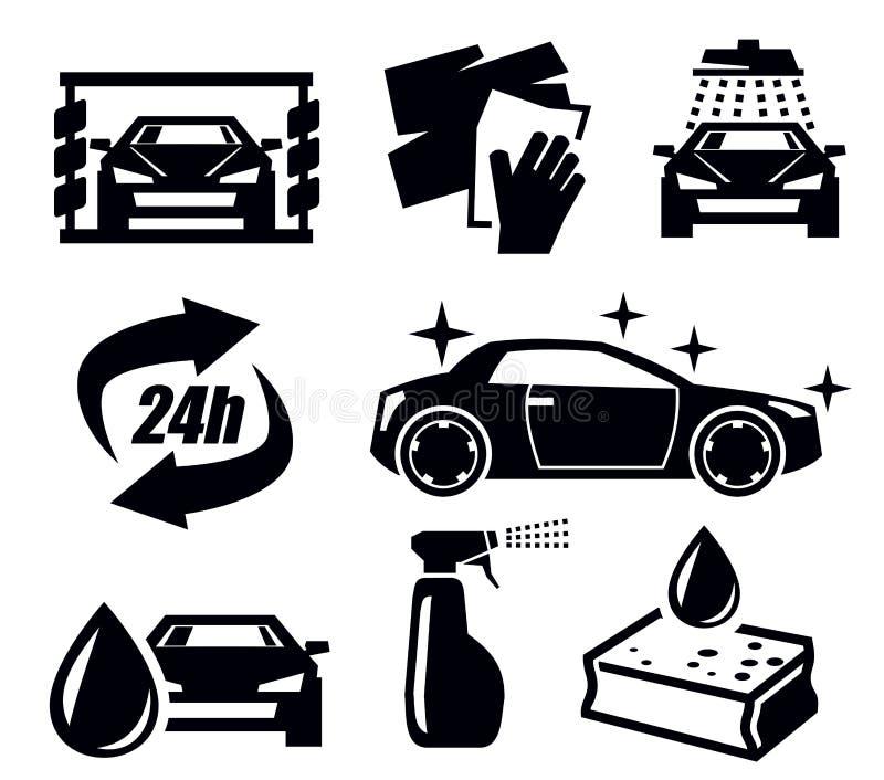 Ícones da lavagem de carros ilustração royalty free