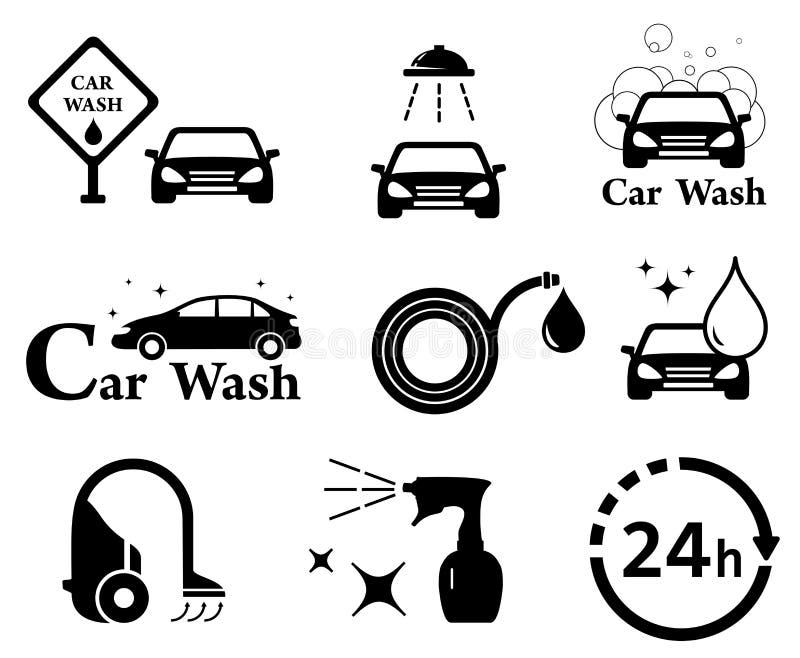 Ícones da lavagem de carros ajustados ilustração royalty free