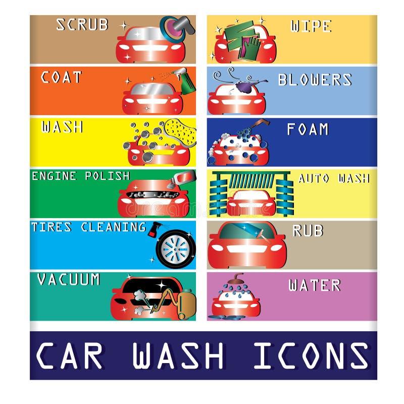 Ícones da lavagem de carros da cor ilustração stock