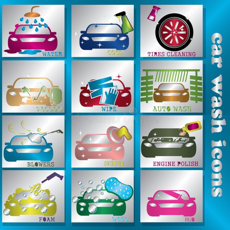 Ícones da lavagem de carros da cor do piscamento ilustração royalty free