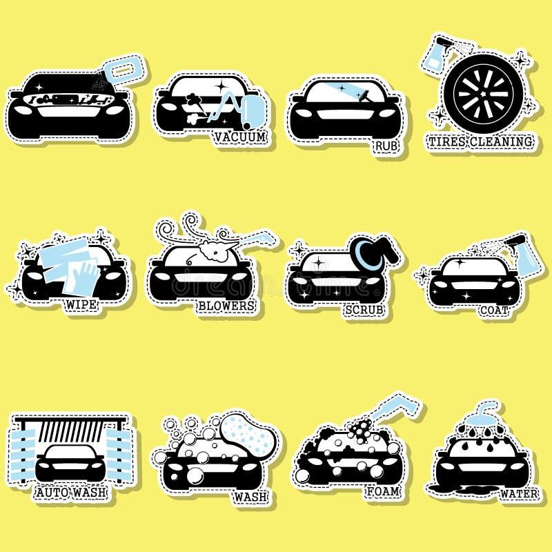Ícones da lavagem de carros no fundo liso do vetor do isolado ilustração do vetor