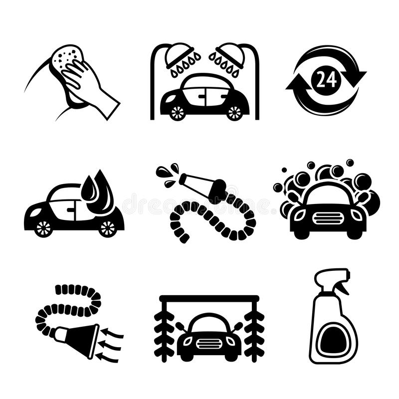 Ícones da lavagem de carros preto e branco ilustração stock