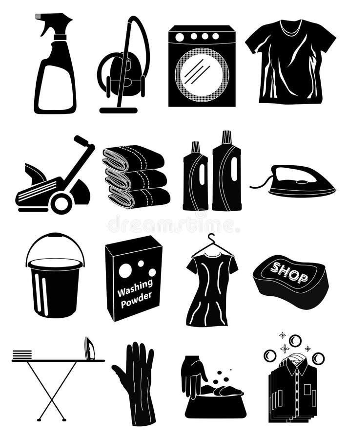 Ícones da lavanderia ajustados ilustração royalty free