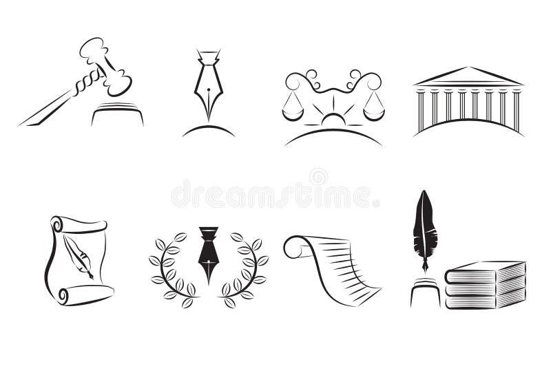 Ícones da lei ajustados ilustração royalty free