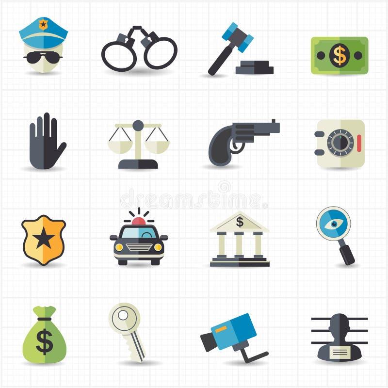 Ícones da lei e da justiça ilustração stock
