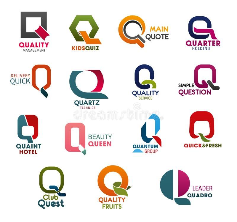 Ícones da letra Q do projeto da tendência da empresa de negócio ilustração stock