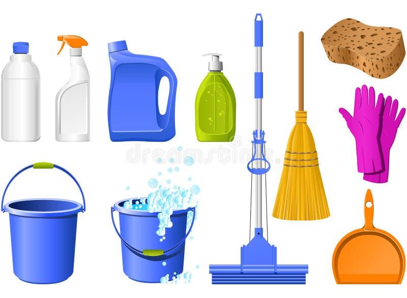 Ícones da limpeza ilustração do vetor