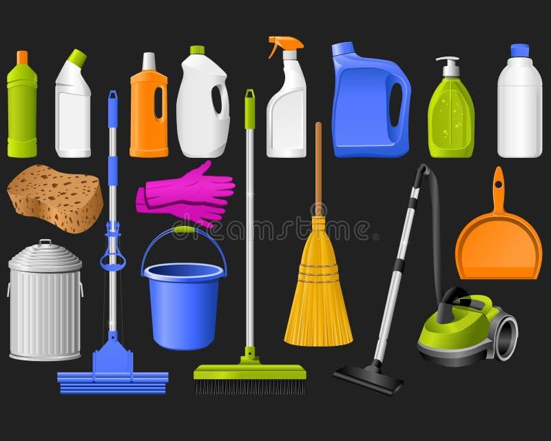 Ícones da limpeza ilustração stock
