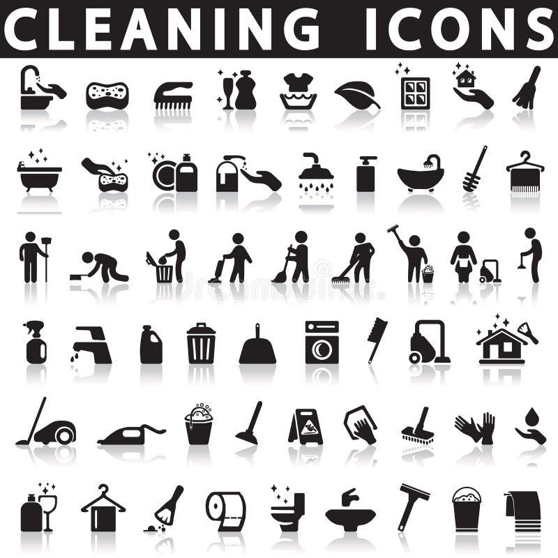 Ícones da limpeza ilustração royalty free
