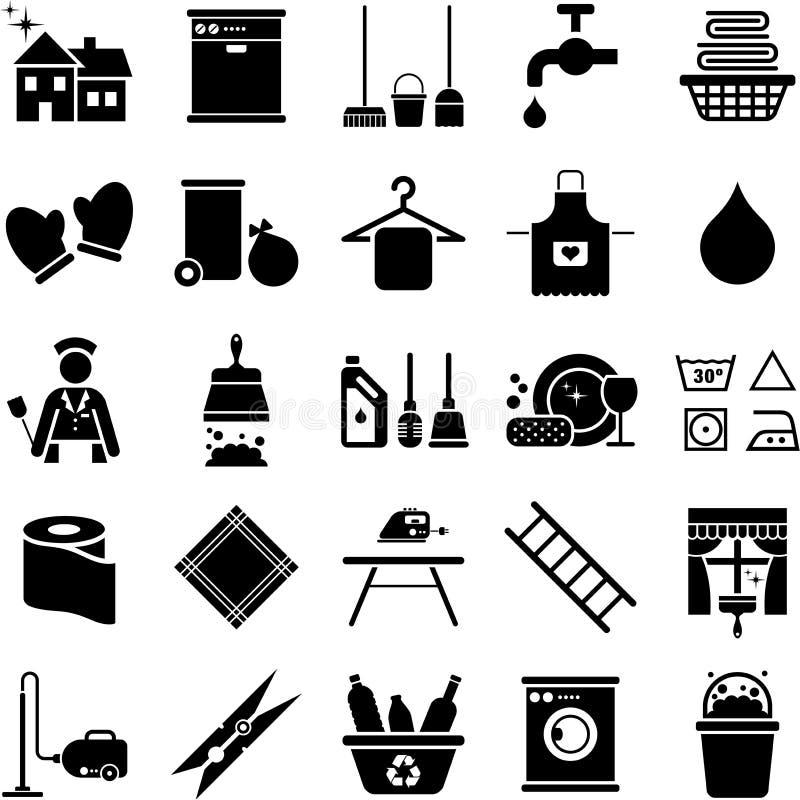 Ícones da limpeza da casa ilustração royalty free