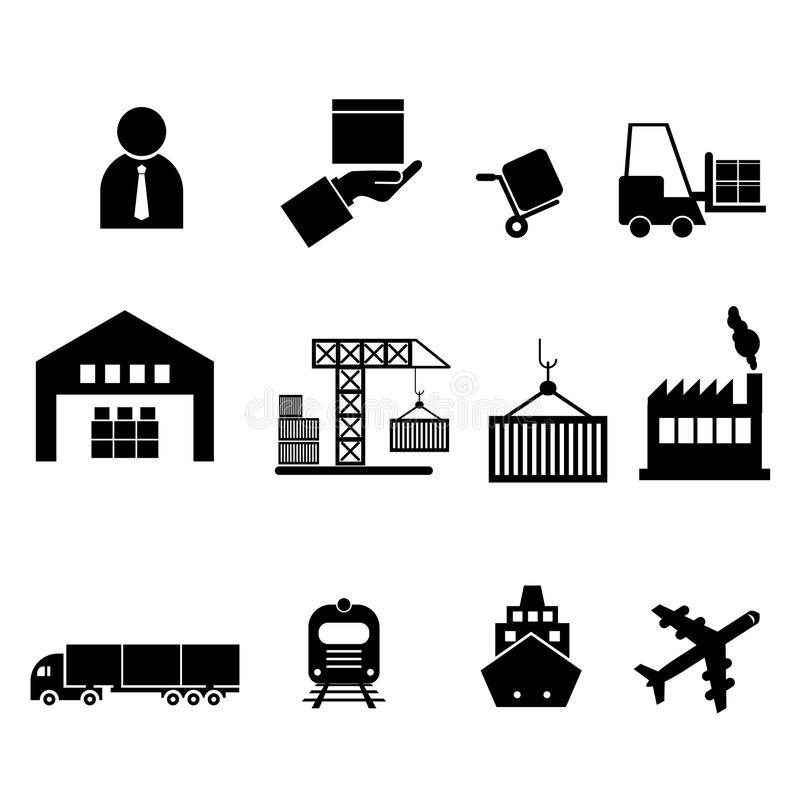 Ícones da logística, ícones de envio ilustração stock