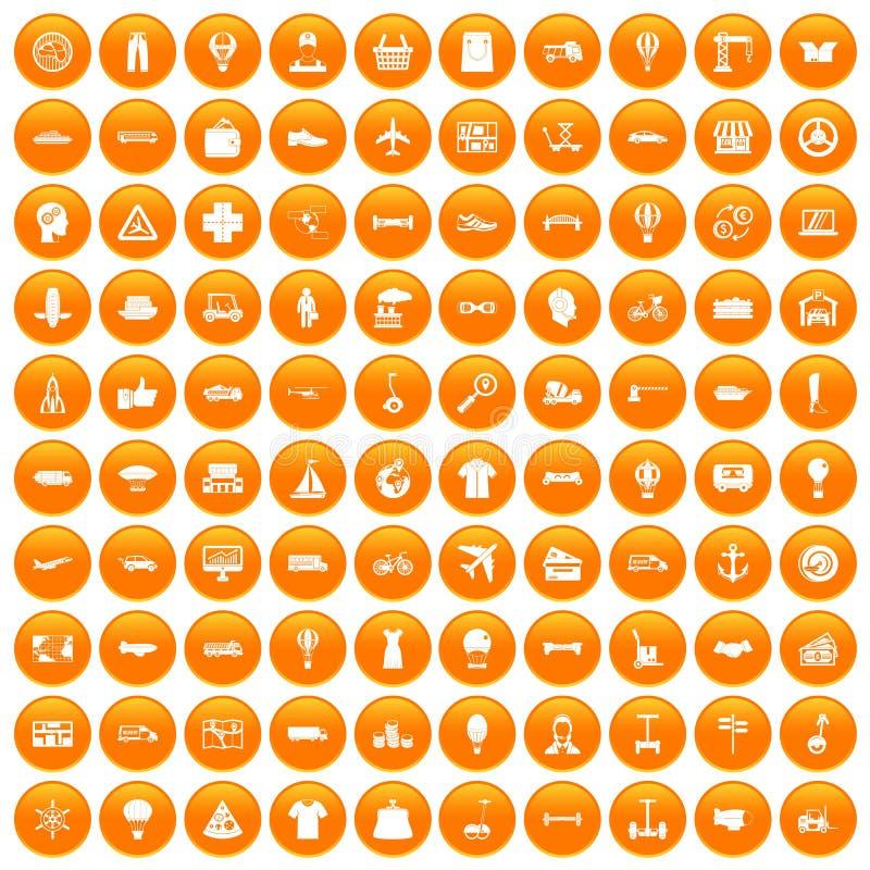 100 ícones da logística ajustados alaranjados ilustração do vetor