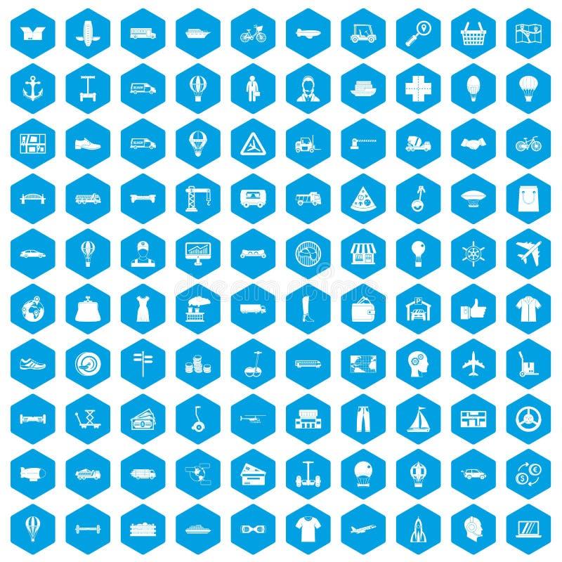 100 ícones da logística ajustados azuis ilustração stock