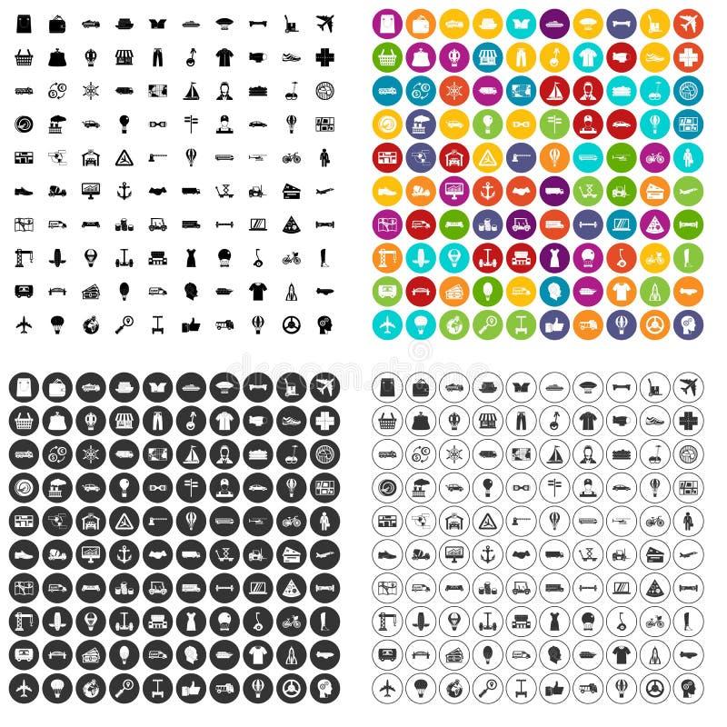 100 ícones da logística ajustados variantes ilustração stock