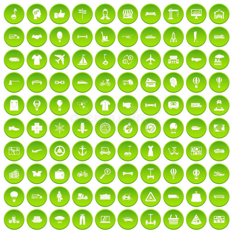 100 ícones da logística ajustados verdes ilustração stock