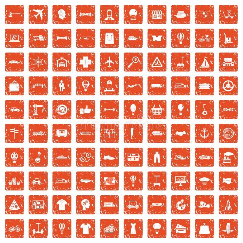 100 ícones da logística ajustaram o grunge alaranjado ilustração royalty free