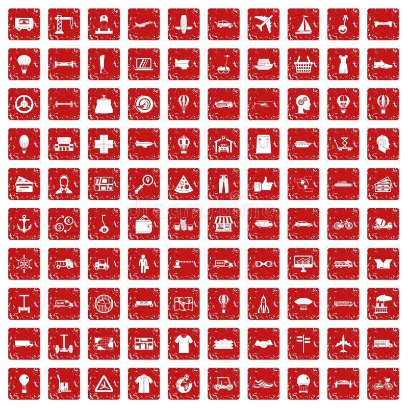 100 ícones da logística ajustaram o grunge vermelho ilustração royalty free