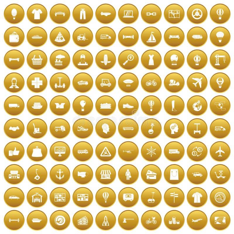 100 ícones da logística ajustaram o ouro ilustração stock