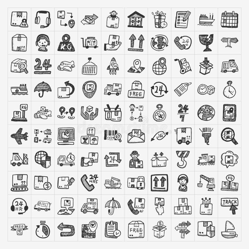 Ícones da logística da garatuja ajustados ilustração royalty free