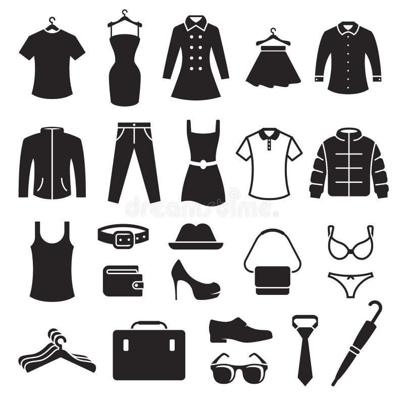 Ícones da loja de roupa ajustados foto de stock