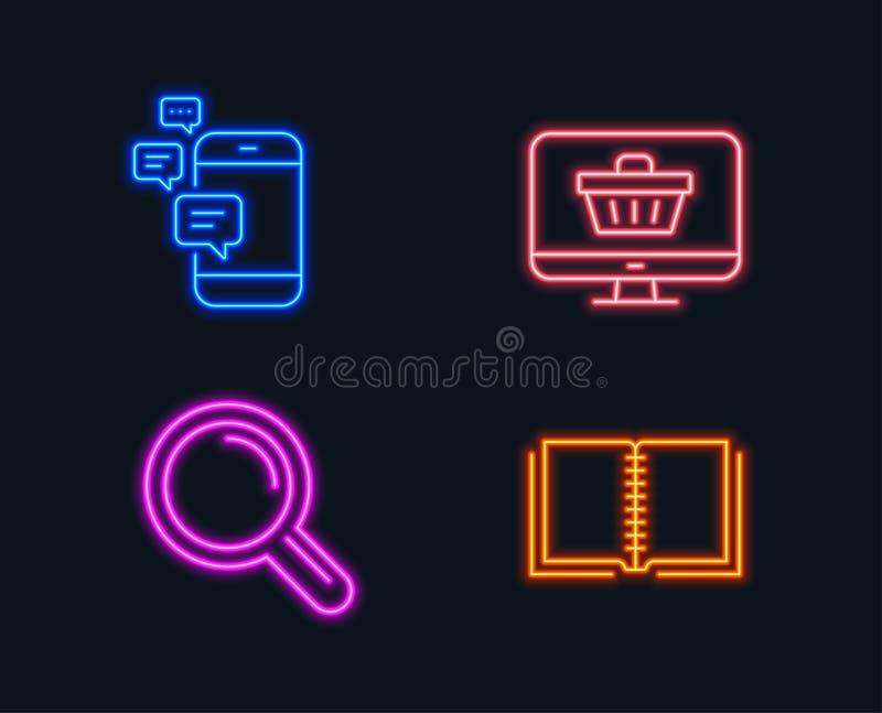 Ícones da loja de uma comunicação, da pesquisa e da Web E Mensagens de Smartphone, lupa, carrinho de compras ilustração stock