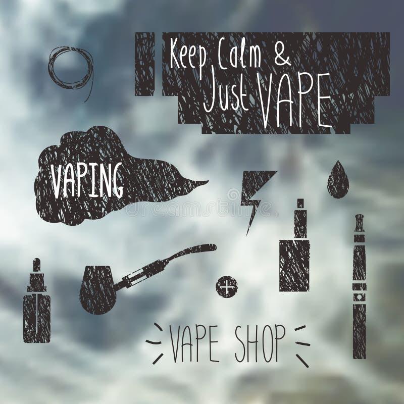 Ícones da loja de Vape ajustados ilustração do vetor