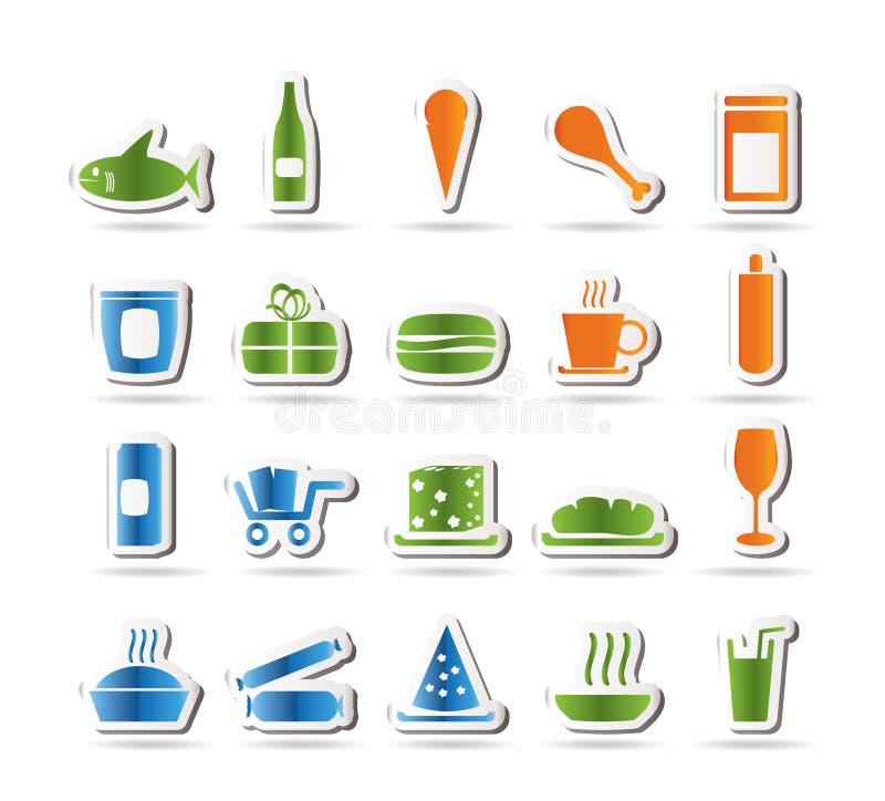 Ícones da loja e dos alimentos ilustração royalty free