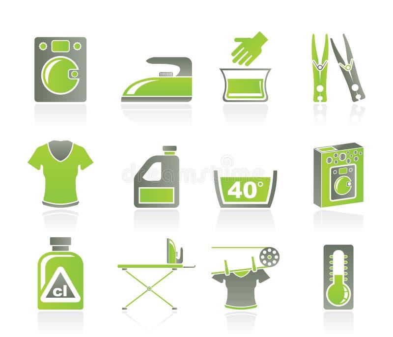 Ícones da máquina de lavar e da lavanderia ilustração stock