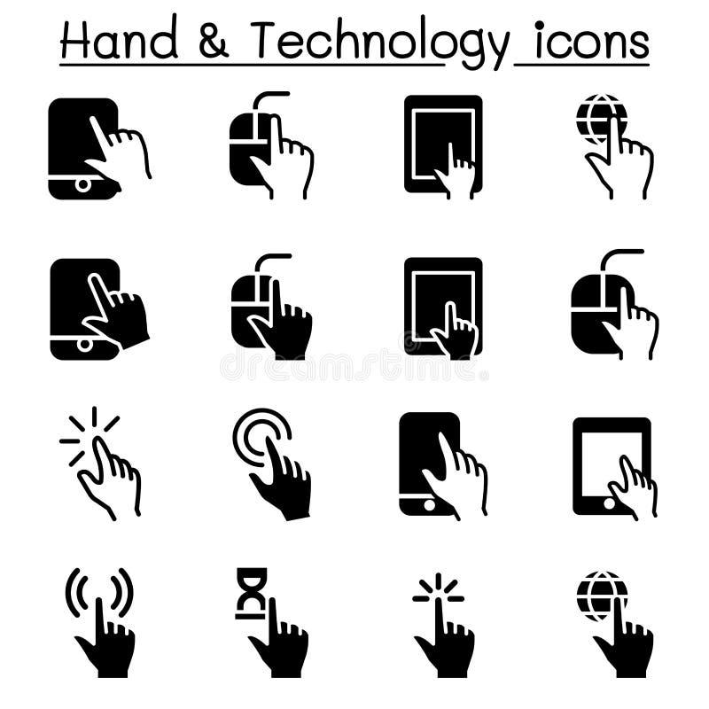 Ícones da mão & do dispositivo de Digitas ilustração stock