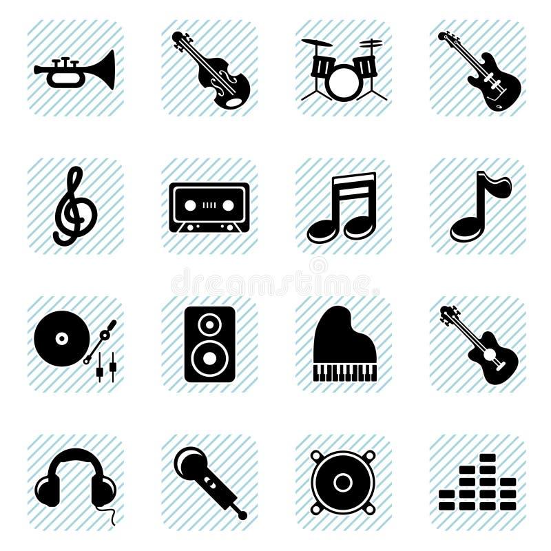 Ícones da música ajustados ilustração do vetor