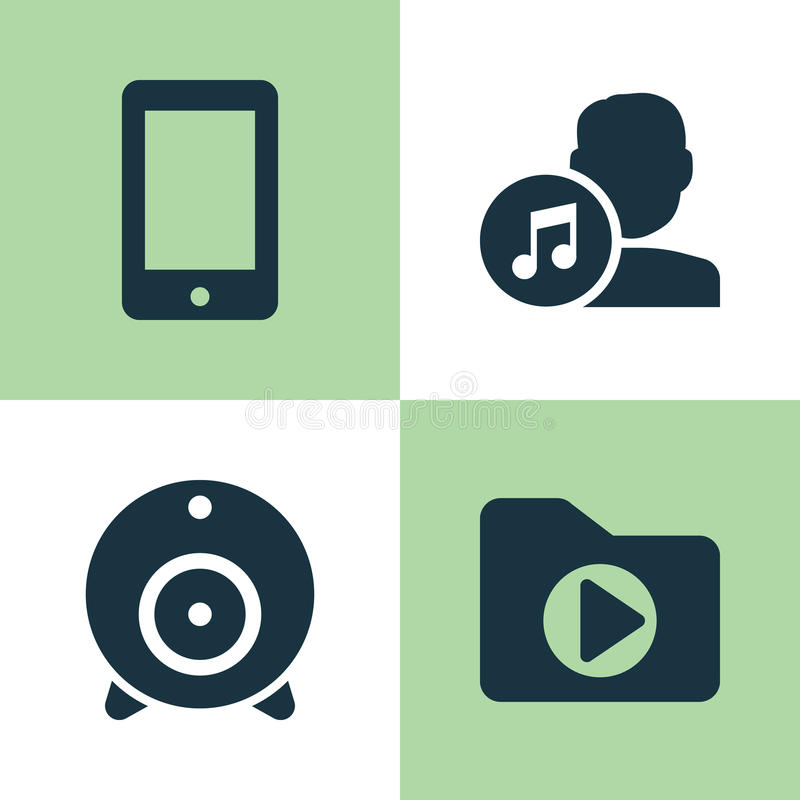 Ícones da música ajustados Coleção da transmissão, dobrador dos meios, compositor And Other Elements Igualmente inclui símbolos c ilustração stock