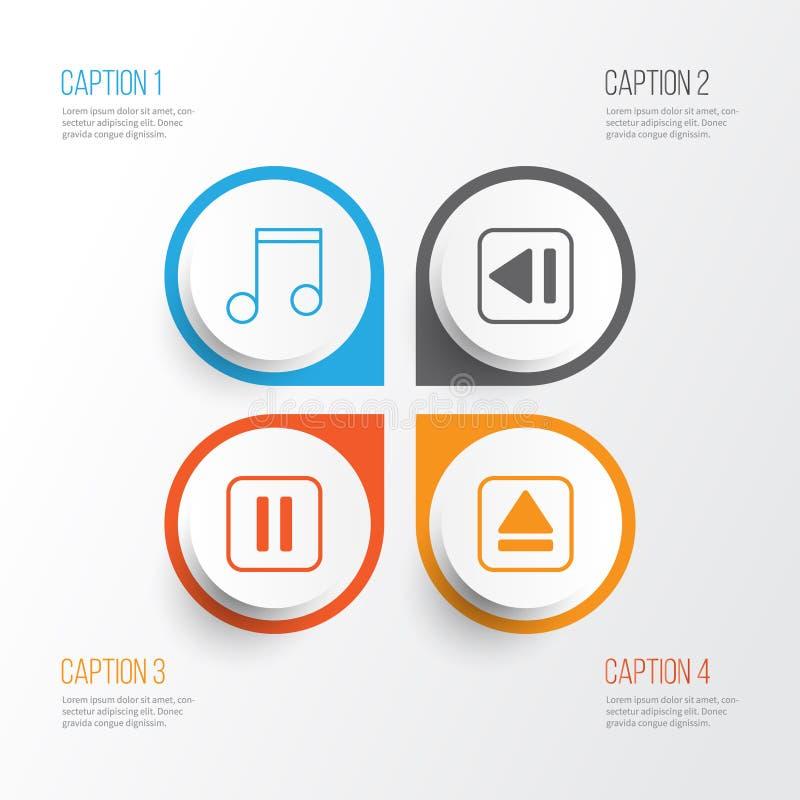 Ícones da música ajustados Coleção do dispositivo do extrato, da música muda, da nota e dos outros elementos Igualmente inclui sí ilustração do vetor