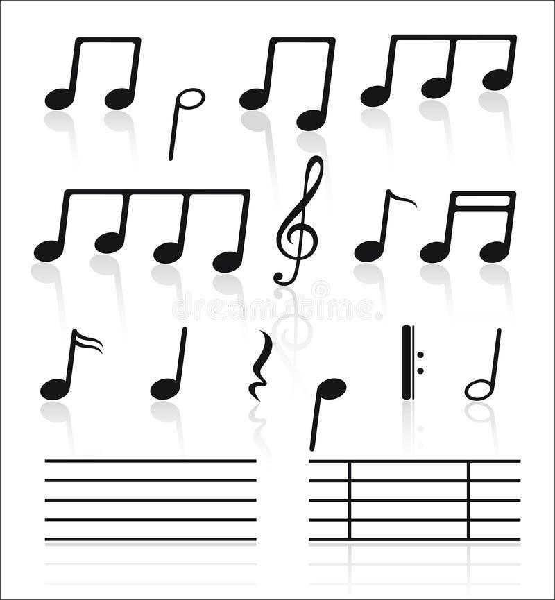Ícones da música ajustados das notas. ilustração stock