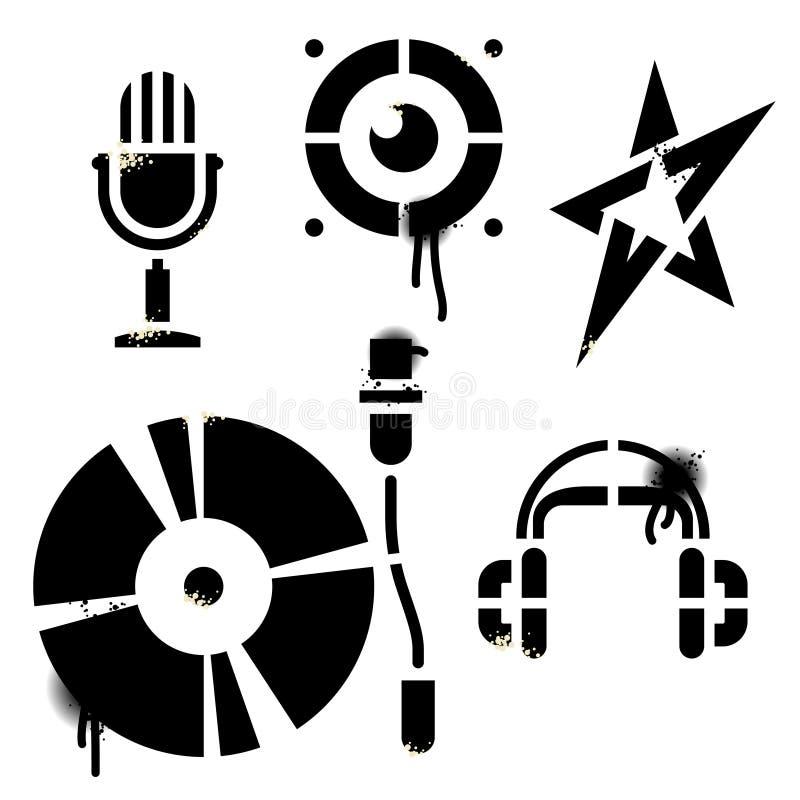 Ícones da música do estêncil ilustração stock