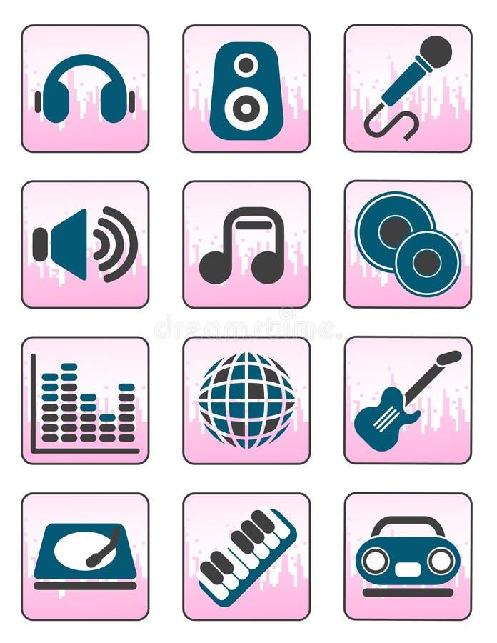 Ícones da música e do som ilustração do vetor