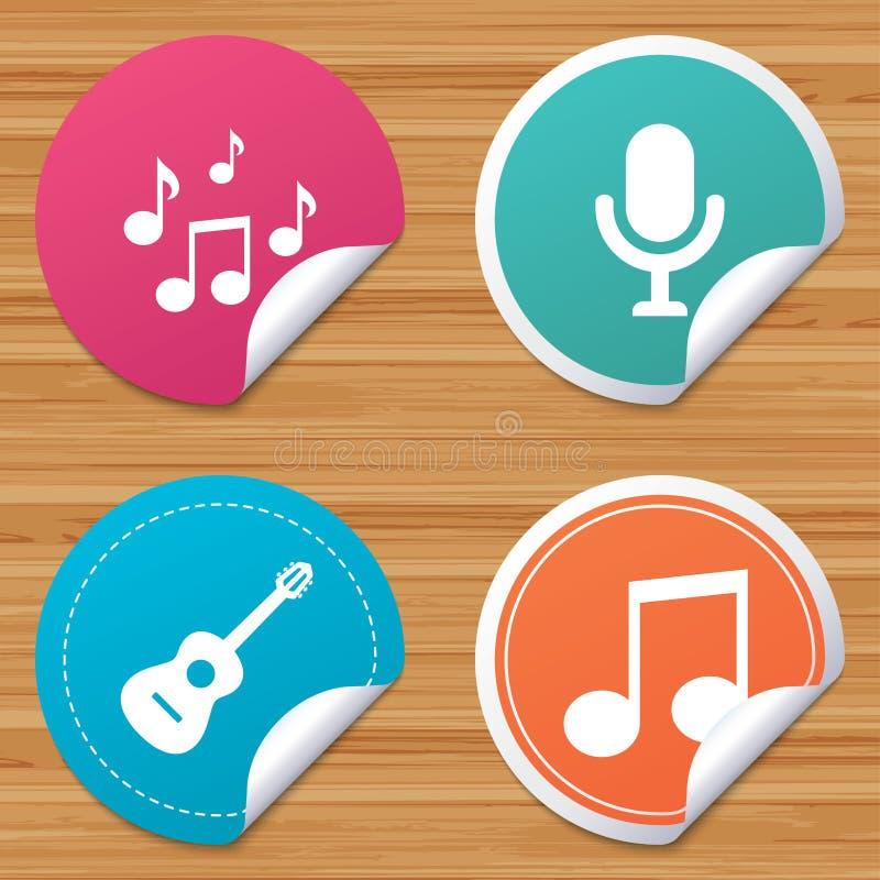 Ícones da música Microfone, guitarra acústica ilustração do vetor