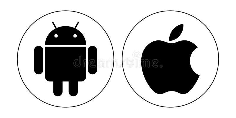 Ícones da maçã de Android ilustração stock