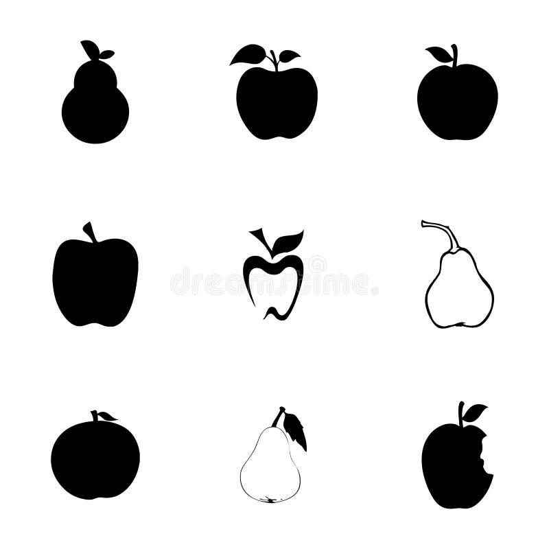 Ícones da maçã e da pera do vetor ajustados ilustração do vetor