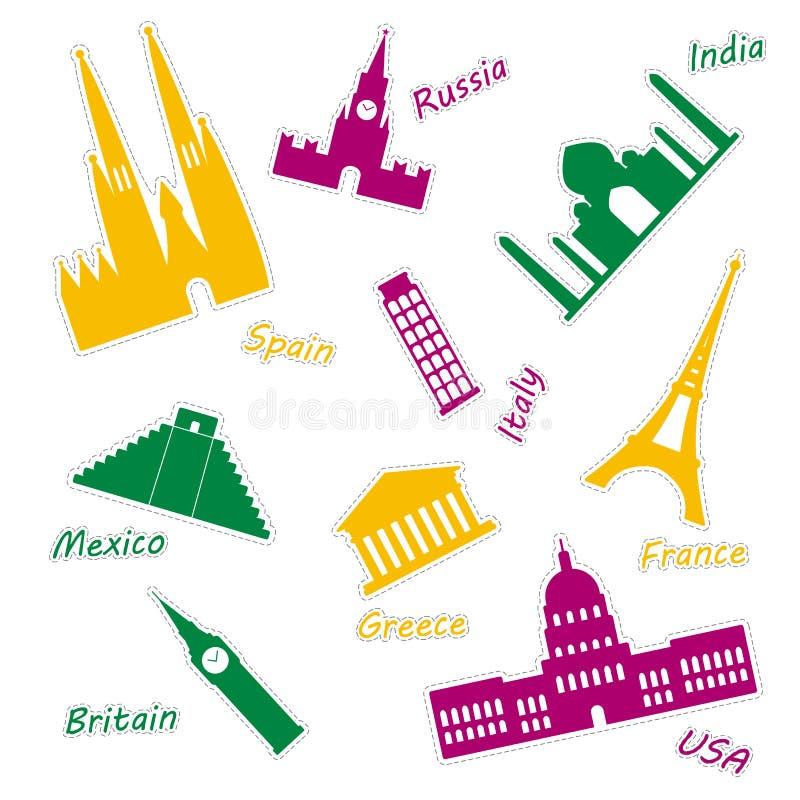 Ícones da maioria de monumentos populares do mundo Grupo colorido de etiquetas das vistas do mundo ilustração royalty free
