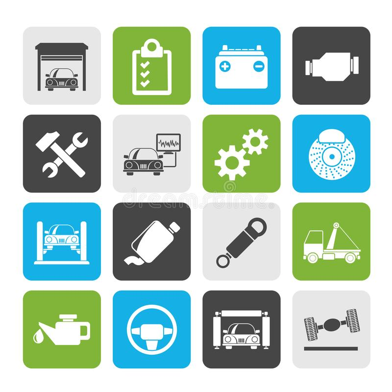 Ícones da manutenção do serviço do carro ilustração stock