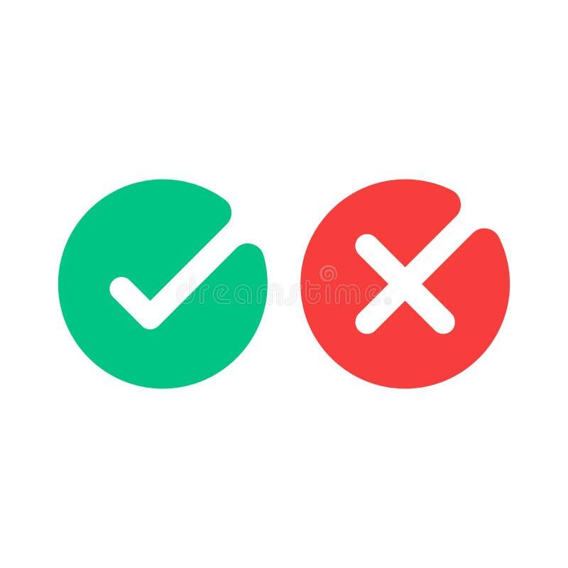 Ícones da marca de verificação Ícones lisos dos sinais do tiquetaque verde e da cruz vermelha ajustados Ilustração do vetor isola ilustração do vetor