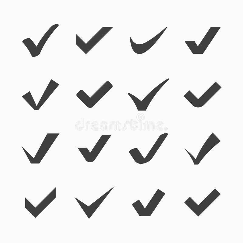 Ícones da marca de verificação ilustração royalty free