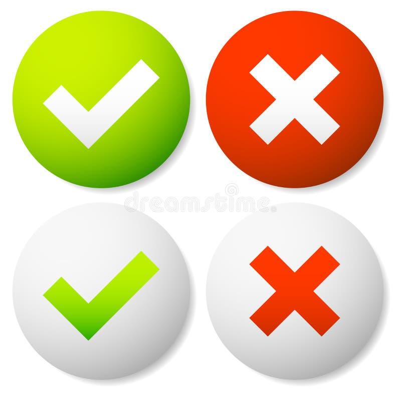 Ícones da marca e da cruz de verificação ilustração do vetor